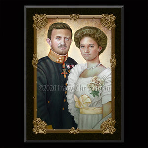 Bl. Karl of Austria and Zita of Austria Plaque & Holy Card Gift Set