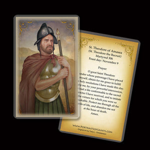 St. Theodore of Amasea Holy Card