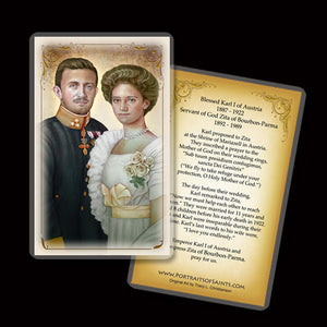 Bl. Karl of Austria and Zita of Austria Holy Card