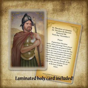 St. Theodore of Amasea Plaque & Holy Card Gift Set