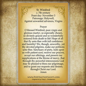 St. Winifred Holy Card