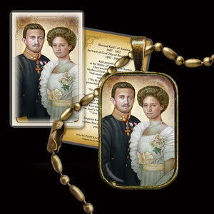 Bl. Karl of Austria and Zita of Austria Pendant & Holy Card Gift Set