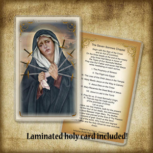 Seven Sorrows of Our Lady Plaque & Holy Card Gift Set