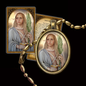St. Lucy Pendant & Holy Card Gift Set
