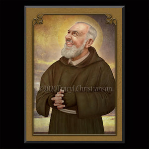 St. Padre Pio (C) Plaque & Holy Card Gift Set