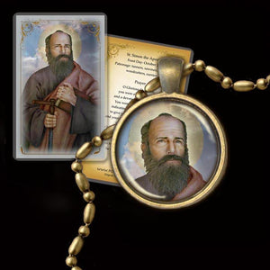 St. Simon the Apostle Pendant & Holy Card Gift Set