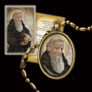 St. Bede the Venerable Pendant & Holy Card Gift Set