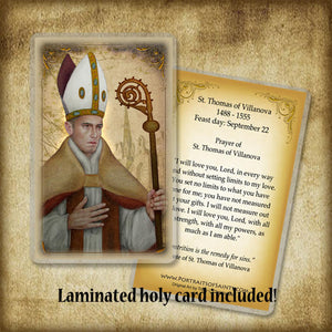 St. Thomas of Villanova Plaque & Holy Card Gift Set