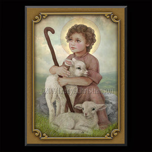 The Little Shepherd Plaque & Holy Card Gift Set