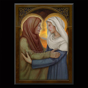 The Visitation of the Blessed Virgin Mary to St. Elizabeth Plaque & Holy Card Gift Set