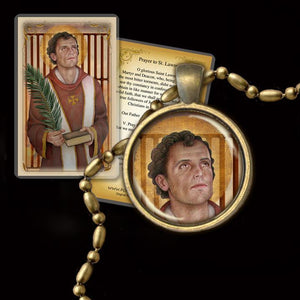 St. Lawrence of Rome Pendant & Holy Card Gift Set