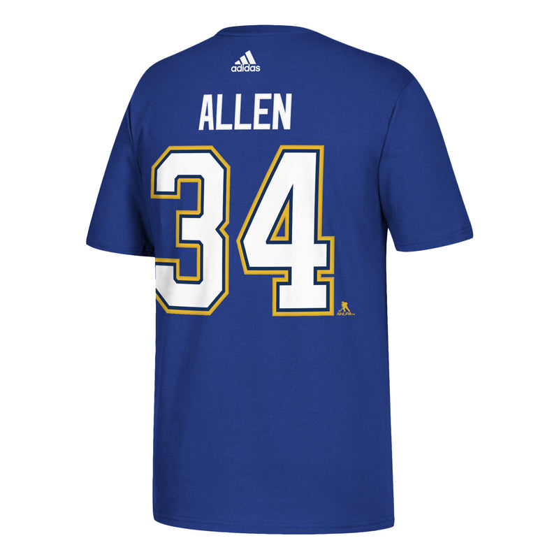 St. Louis Blues adidas Jake Allen #34 Hi-Def Player Name & Number Tee - Blue - STL Authentics