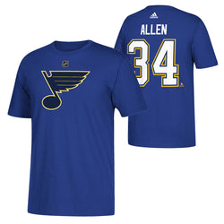 St. Louis Blues adidas Jake Allen #34 Hi-Def Player Name & Number Tee - Blue | STL Authentics