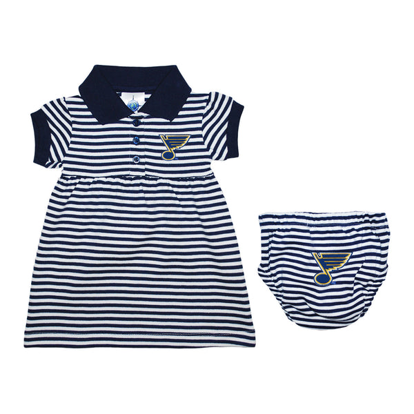 St. Louis Blues Infant Striped Dress with Bloomer - Navy/White | STL Authentics