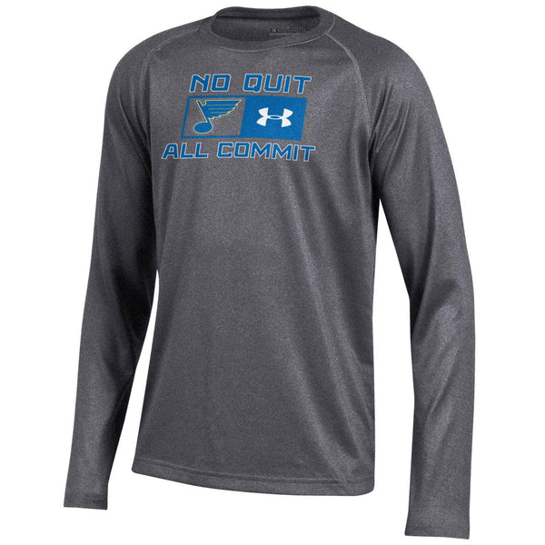 St. Louis Blues Under Armour Youth No Out All Commit Long Sleeve Tech Tee - Gray - STL Authentics