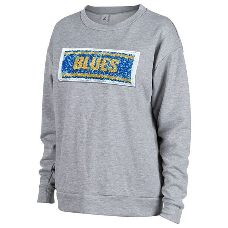 St. Louis Blues Womens Swipe Reversible Image Pullover Fleece Crew - Grey