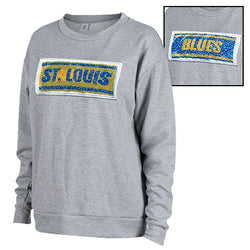 St. Louis Blues Womens Swipe Reversible Image Pullover Fleece Crew - Grey | STL Authentics