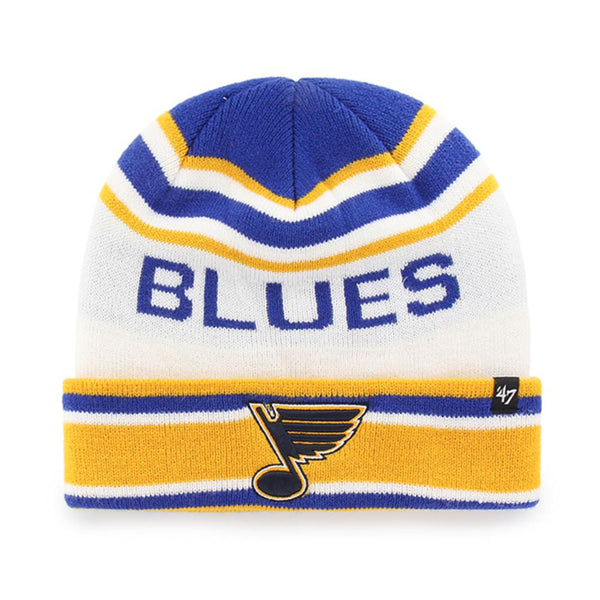 St. Louis Blues 47 Brand Offsides 70s Note Cuff Knit Hat - White
