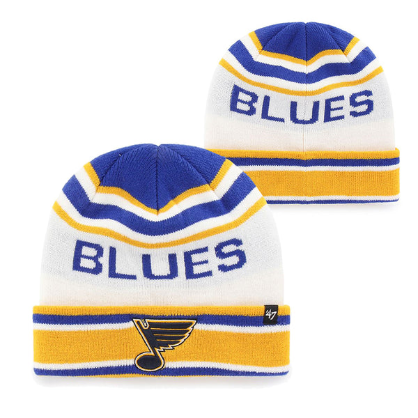 St. Louis Blues 47 Brand Offsides 70s Note Cuff Knit Hat - White | STL Authentics