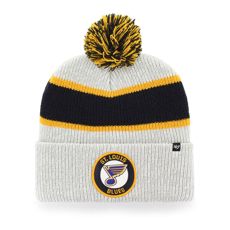 St. Louis Blues 47 Brand Noreaster Pom Knit Hat - Grey