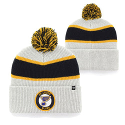 St. Louis Blues 47 Brand Noreaster Pom Knit Hat - Grey | STL Authentics