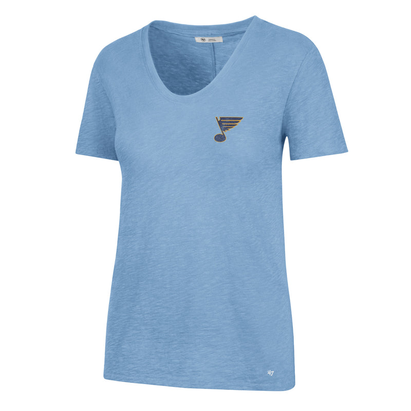 St. Louis Blues 47 Brand Womens Heritage V-neck Tee - Light Blue - STL Authentics