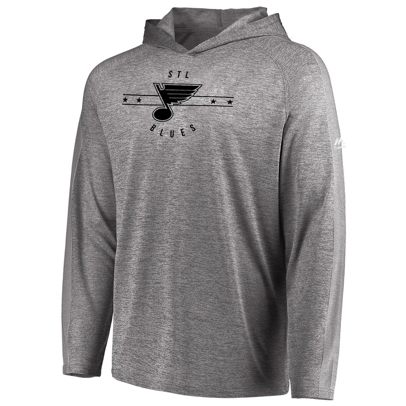 St. Louis Blues Majestic Mens Fan Flow Long Sleeve Hooded Tee - Heather Grey