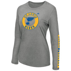 St. Louis Blues Majestic Womens Long Sleeve with Sleeve Hit Tee - Grey | STL Authentics