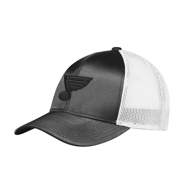 St. Louis Blues adidas Womens Tonal Shine Mesh Snapback Hat - Black/White