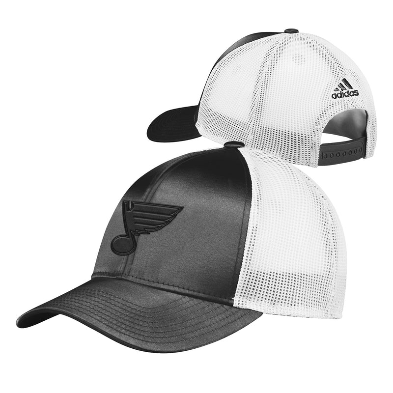 St. Louis Blues adidas Womens Tonal Shine Mesh Snapback Hat - Black/White | STL Authentics
