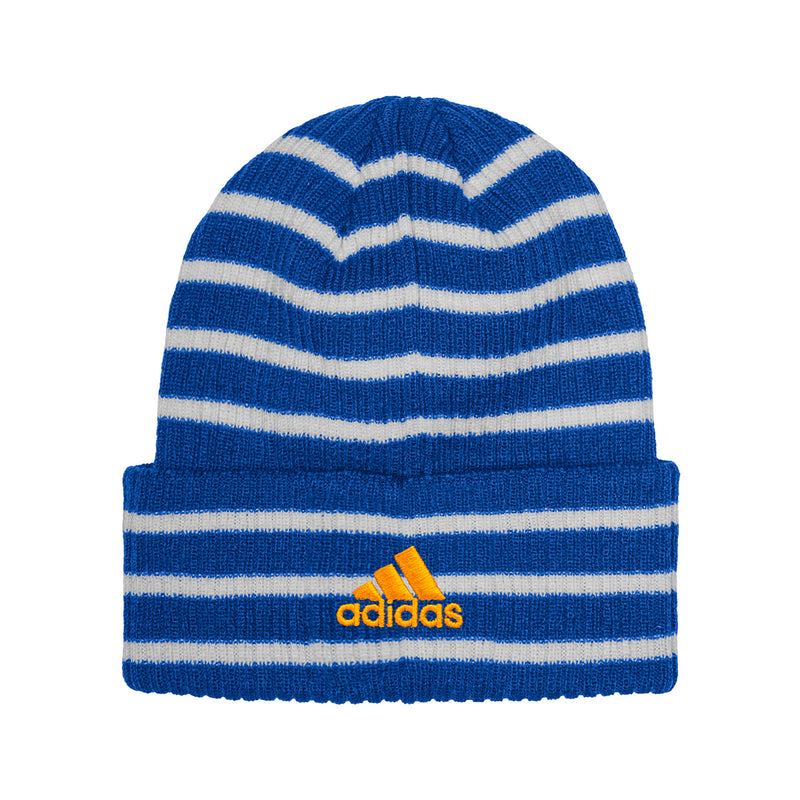 St. Louis Blues adidas Embroidered Cuffed Striped Knit Beanie - Royal/White