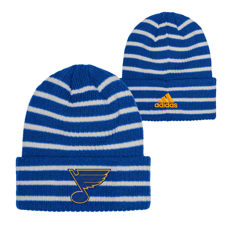 St. Louis Blues adidas Embroidered Cuffed Striped Knit Beanie - Royal/White - STL Authentics