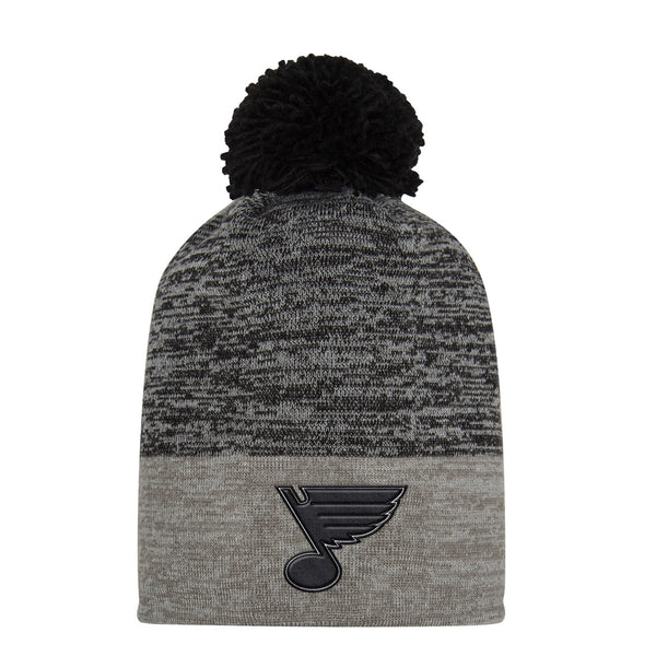 St. Louis Blues adidas Heathered Knit Beanie with Pom - Grey/Black