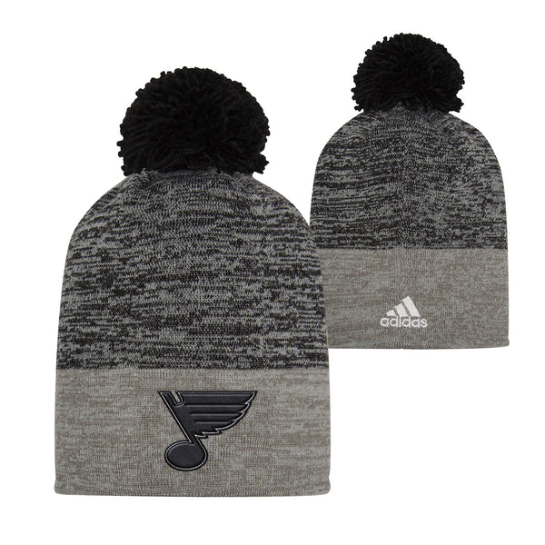 St. Louis Blues adidas Heathered Knit Beanie with Pom - Grey/Black | STL Authentics