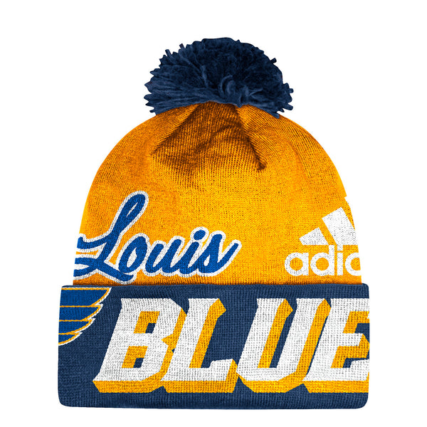 St. Louis Blues adidas Woven Cuffed Beanie with Pom - Gold/Navy