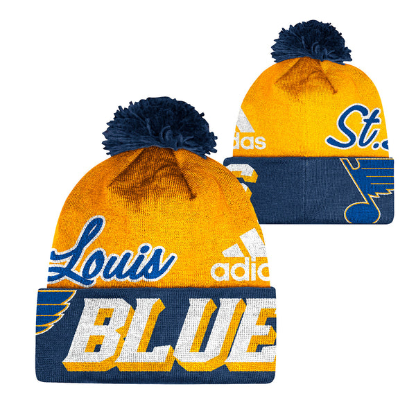 St. Louis Blues adidas Woven Cuffed Beanie with Pom - Gold/Navy | STL Authentics