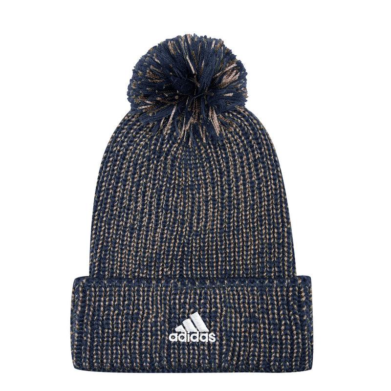 St. Louis Blues adidas Cuffed Marled Knit Beanie with Pom - Navy/Gold