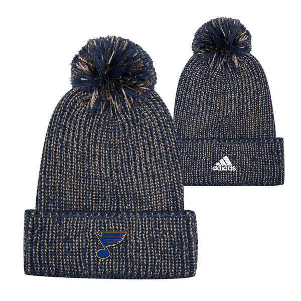 St. Louis Blues adidas Cuffed Marled Knit Beanie with Pom - Navy/Gold - STL Authentics