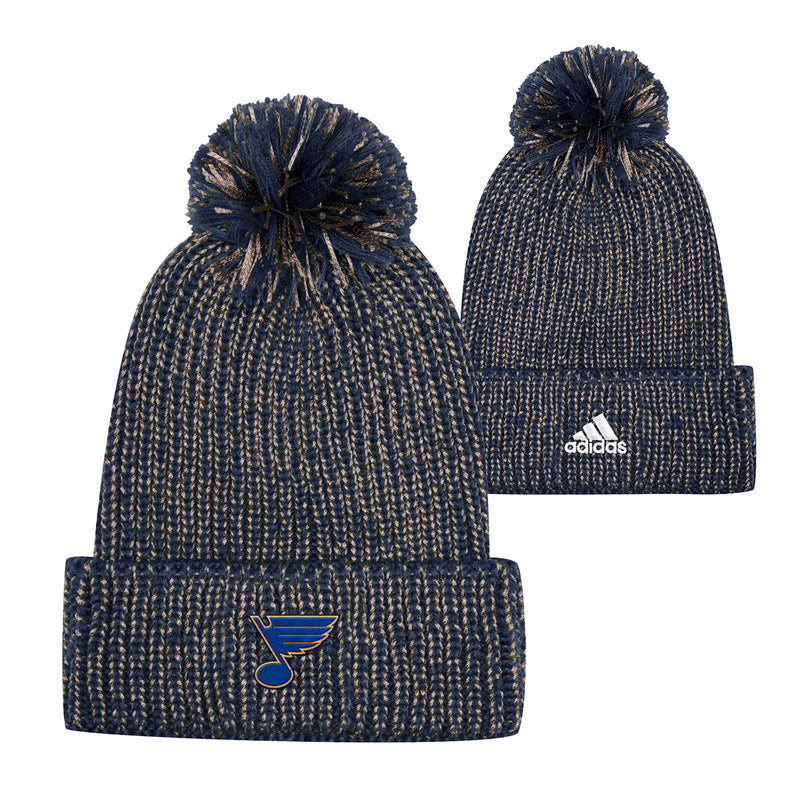 St. Louis Blues adidas Cuffed Marled Knit Beanie with Pom - Navy/Gold | STL Authentics