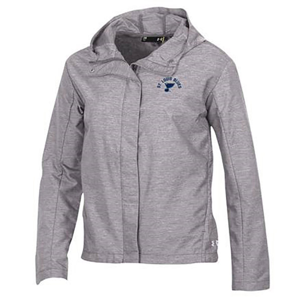 St. Louis Blues Under Armour Womens Lightweight Full Zip Twill Jacket - Grey | STL Authentics