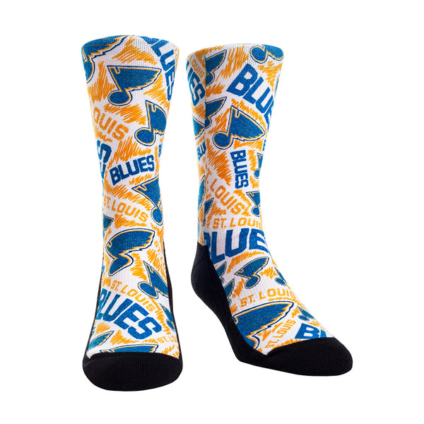 St. Louis Blues RockEm Logo Sketch Multi-color Crew Socks - STL Authentics