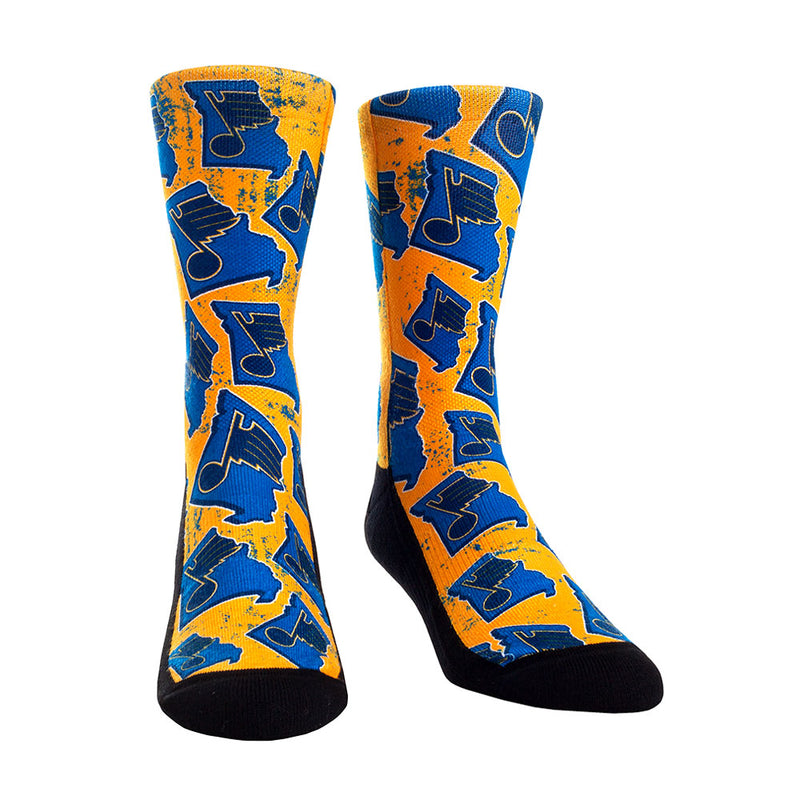 St. Louis Blues RockEm State Pattern Crew Socks - Gold/Blue | STL Authentics