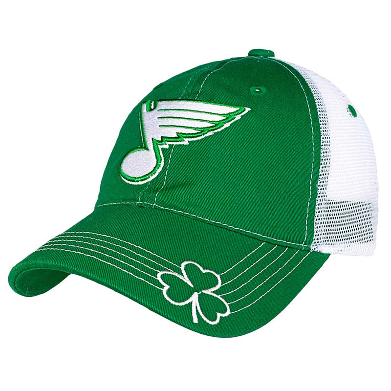 St. Louis Blues Maingate St. Patricks Day Mesh Back Adjustable Cap - Green/White | STL Authentics