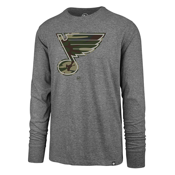 St. Louis Blues '47 Brand OHT Veterans Day Camo Note Long Sleeve Tee - Grey - STL Authentics