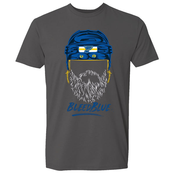 St. Louis Blues Fishbowl Hockey Bleed Blue Playoffs Beard Face Tee - Grey | STL Authentics