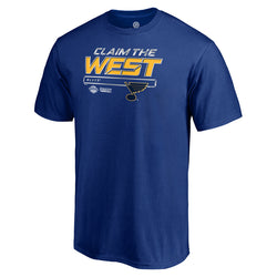 St. Louis Blues Fanatics Mens Crease 2019 Western Conference Finals Claim the West Tee - Royal | STL Authentics
