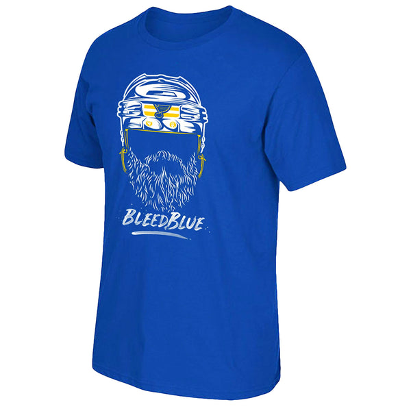 St. Louis Blues Fishbowl Hockey Bleed Blue Playoffs Beard Face Tee - Royal | STL Authentics