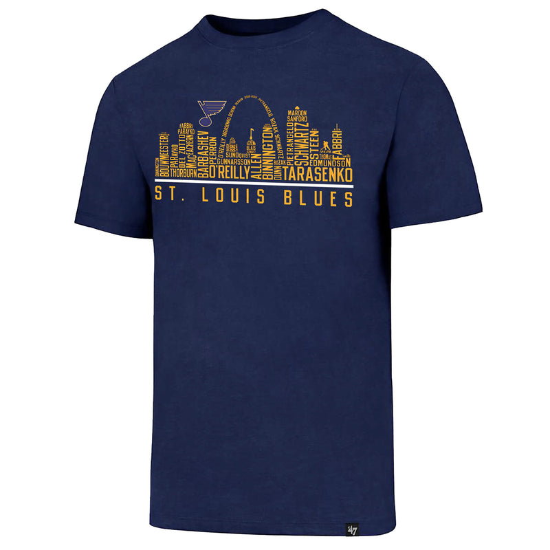 St. Louis Blues 47 Brand Roster Skyline Tee - Navy | STL Authentics