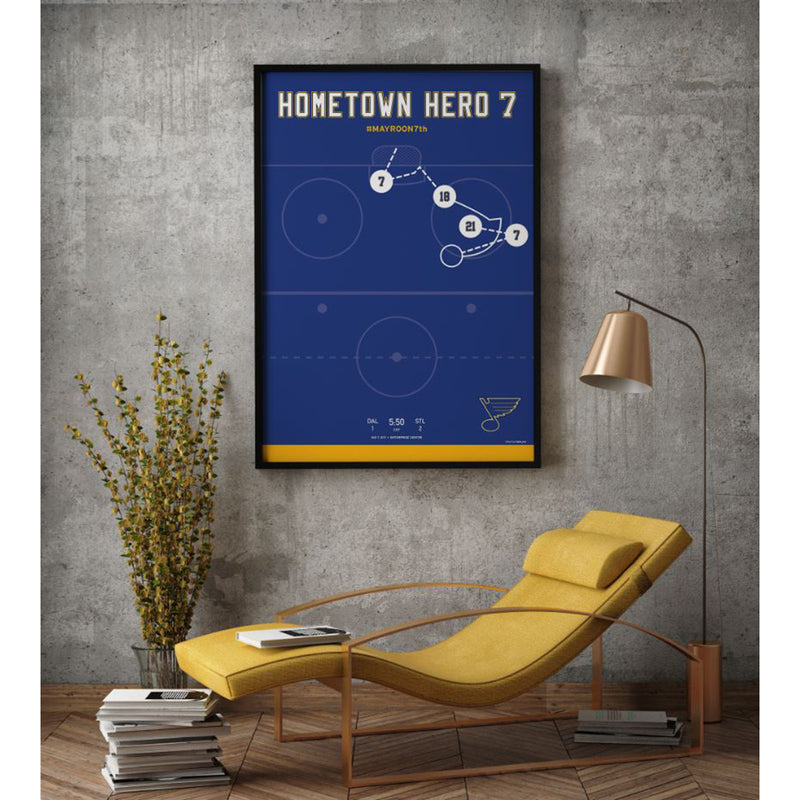 St. Louis Blues Hometown Hero Pat Maroon #7 Winning Play Poster