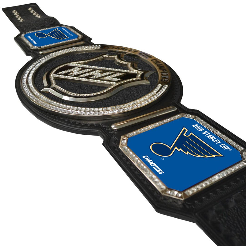St. Louis Blues Uncanny Brands 2019 Stanley Cup Final Champions Heavyweight Leather Champs Belt